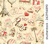 paris background. seamless... | Shutterstock .eps vector #262956890