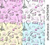 paris background. seamless... | Shutterstock .eps vector #262956908