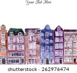european street with houses... | Shutterstock .eps vector #262976474