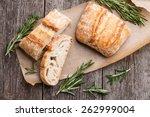 sliced bread ciabatta and... | Shutterstock . vector #262999004