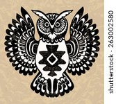 decorative owl  wild totem... | Shutterstock .eps vector #263002580