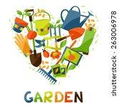 background with garden design... | Shutterstock .eps vector #263006978