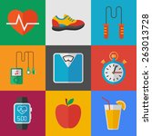 fitness icons set. flat style... | Shutterstock .eps vector #263013728