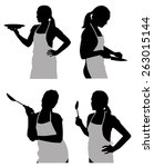 silhouettes housewife in the...   Shutterstock .eps vector #263015144