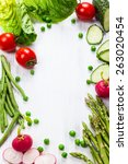 fresh vegetables on the white... | Shutterstock . vector #263020454