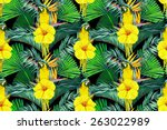 beautiful seamless floral... | Shutterstock . vector #263022989