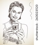 sketch of woman taking photo... | Shutterstock .eps vector #263023520