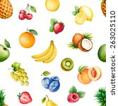 watercolor fruits pattern ... | Shutterstock .eps vector #263025110