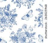 seamless vector vintage pattern ... | Shutterstock .eps vector #263025968