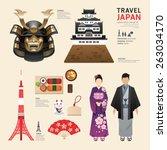 japan flat icons design travel... | Shutterstock .eps vector #263034170