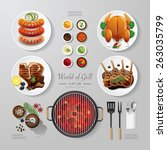 infographic food grill bbq...   Shutterstock .eps vector #263035799