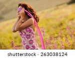 beautiful blind young woman in... | Shutterstock . vector #263038124
