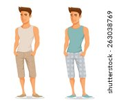 handsome young guy in casual... | Shutterstock .eps vector #263038769