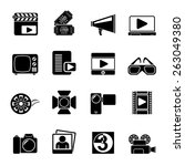 silhouette movie and cinema... | Shutterstock .eps vector #263049380