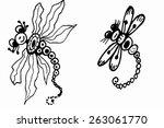 stylized dragonflies   vector   Shutterstock .eps vector #263061770