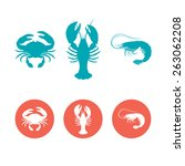 Set Of The Seafood Flat Icons....