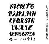 hand drawn vector ink alphabet... | Shutterstock .eps vector #263065694