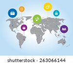 world map with icons... | Shutterstock .eps vector #263066144