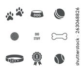 Stock vector dog stuff set vector icons 263068826