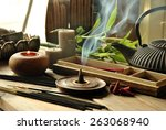 various types of incense with... | Shutterstock . vector #263068940