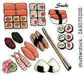 hand drawn vintage japanese set | Shutterstock .eps vector #263070200