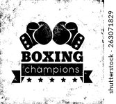 vintage logo for a boxing on... | Shutterstock .eps vector #263071829