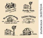 vector retro set of farm fresh... | Shutterstock .eps vector #263078144