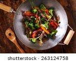 asian wok stir fry shot from... | Shutterstock . vector #263124758