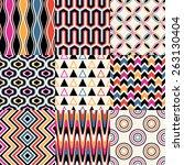seamless retro geometric... | Shutterstock .eps vector #263130404