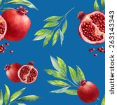 a seamless leaf and pomegranate ... | Shutterstock . vector #263143343