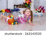 girl in a room decorated with... | Shutterstock . vector #263143520