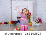 cheerful little girl kid... | Shutterstock . vector #263143529