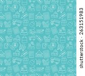 shopping line icon pattern set | Shutterstock .eps vector #263151983