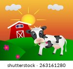 happy cown with barn on meadow... | Shutterstock .eps vector #263161280