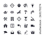 simple flat building icons for... | Shutterstock . vector #263170274