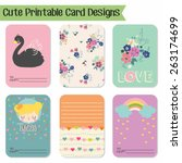 cute and love cards  notes ...   Shutterstock .eps vector #263174699