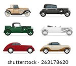 Set Icons Old Retro Car Vector...