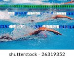 swimming in waterpool with blue ... | Shutterstock . vector #26319352