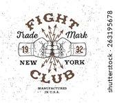 boxing monochrome vector label  ... | Shutterstock .eps vector #263195678