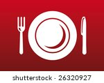 knife  fork and plate on red... | Shutterstock .eps vector #26320927