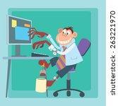 intensive work. office monkey...   Shutterstock . vector #263221970