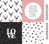 Seamless Love Pattern Set And...
