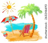 watercolor summer beach set.... | Shutterstock .eps vector #263246693