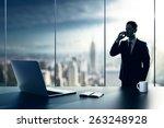 businessman with cellphone... | Shutterstock . vector #263248928