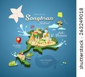 songkran festival in thailand... | Shutterstock .eps vector #263249018