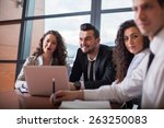 business partners discussing... | Shutterstock . vector #263250083