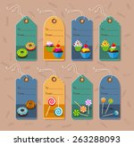 price tags with dessert and... | Shutterstock .eps vector #263288093