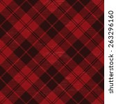 red grunge plaid tartan 1 | Shutterstock .eps vector #263296160