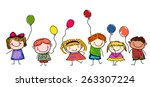 Sketch Children With Balloon