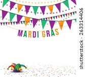 mardi gras bunting and jesters... | Shutterstock .eps vector #263314406